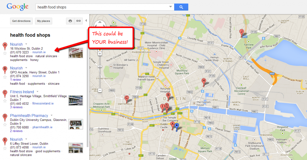google places sample map